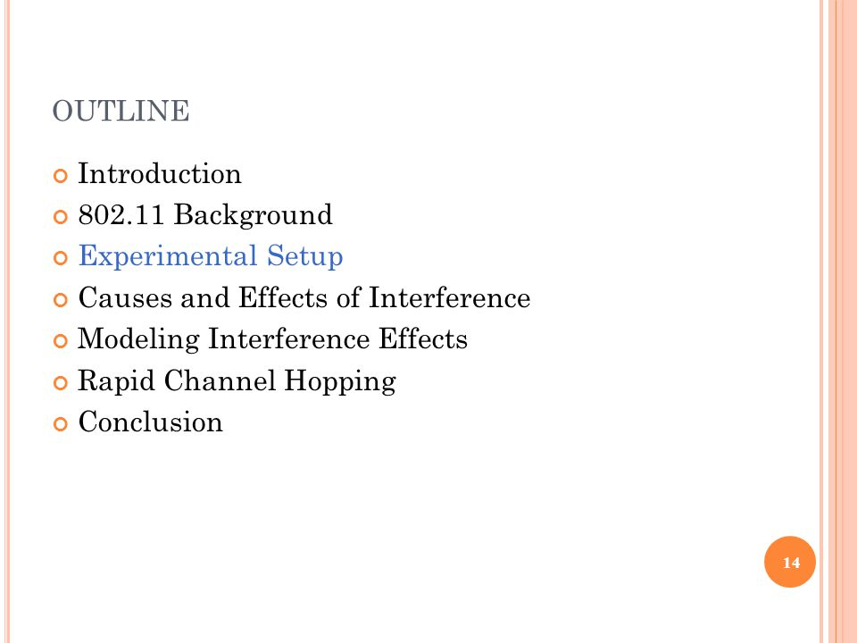 OUTLINE Introduction 802.11 Background Experimental Setup Causes and Effects of Interference Modeling Interference Effects Rapid Channel Hopping Conclusion 14