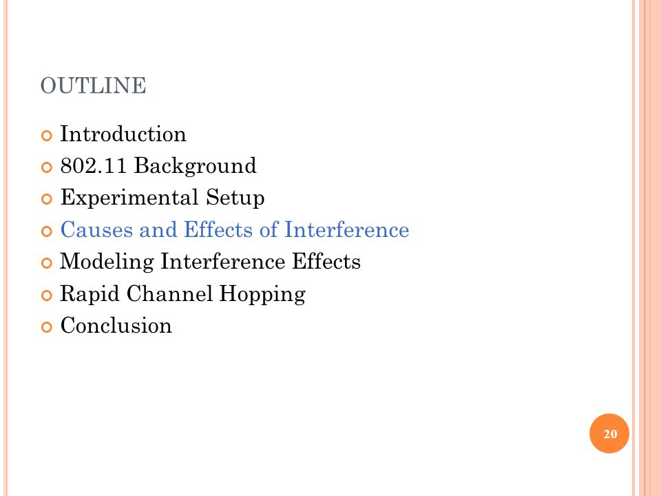 OUTLINE Introduction 802.11 Background Experimental Setup Causes and Effects of Interference Modeling Interference Effects Rapid Channel Hopping Conclusion 20