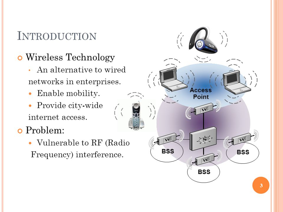 I NTRODUCTION Wireless Technology An alternative to wired networks in enterprises.
