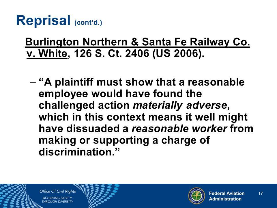 17 17 Reprisal (cont'd.) Burlington Northern & Santa Fe Railway Co.