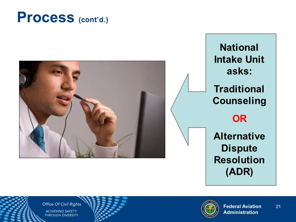 21 21 Process (cont'd.) National Intake Unit asks: Traditional Counseling OR Alternative Dispute Resolution (ADR)