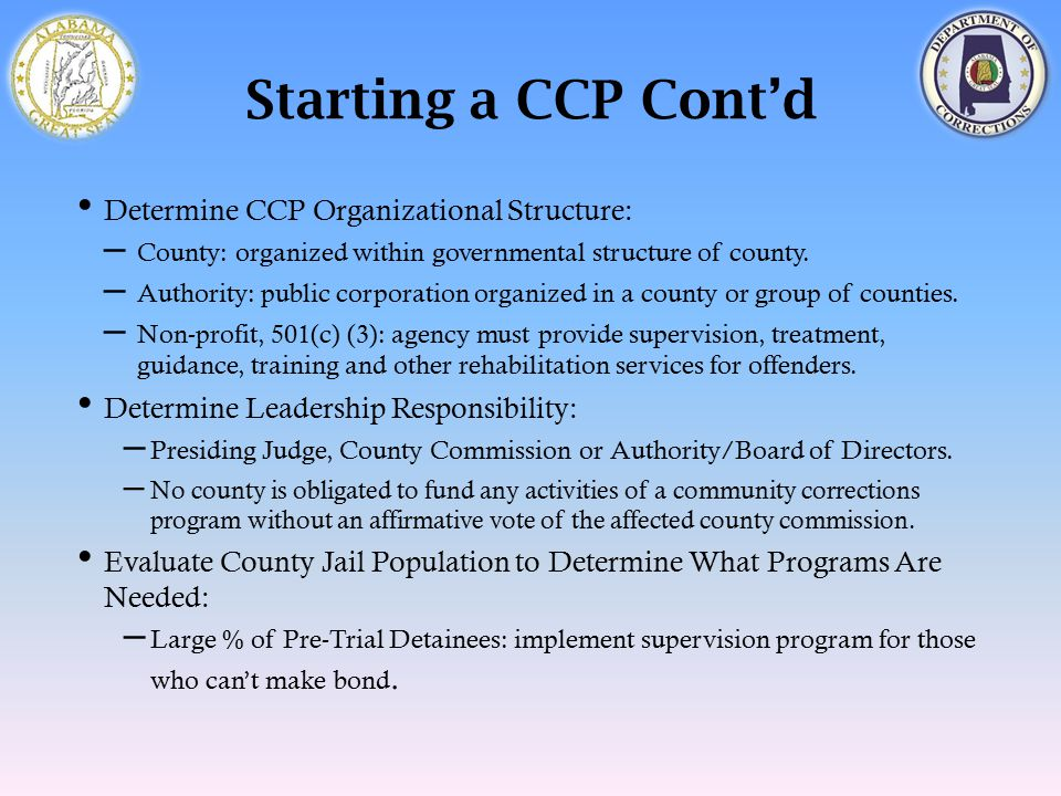 Starting a CCP Cont'd Determine CCP Organizational Structure: – County: organized within governmental structure of county. – Authority: public corpora
