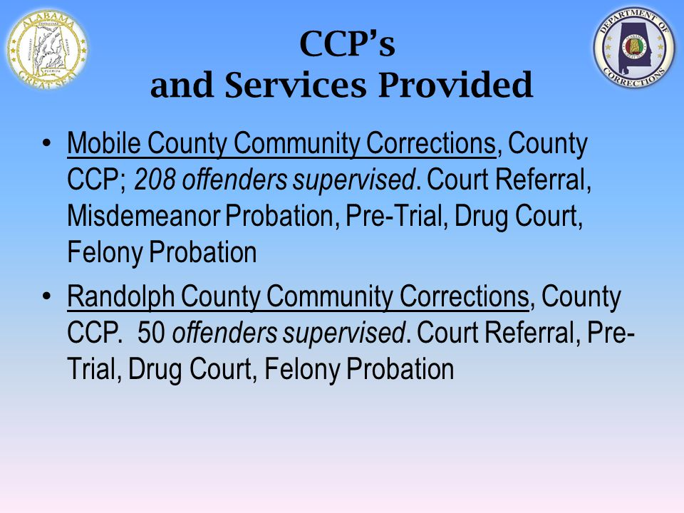 CCP's and Services Provided Mobile County Community Corrections, County CCP; 208 offenders supervised. Court Referral, Misdemeanor Probation, Pre-Tria