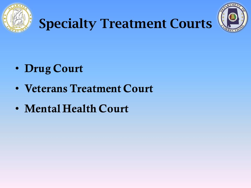 Specialty Treatment Courts Drug Court Veterans Treatment Court Mental Health Court