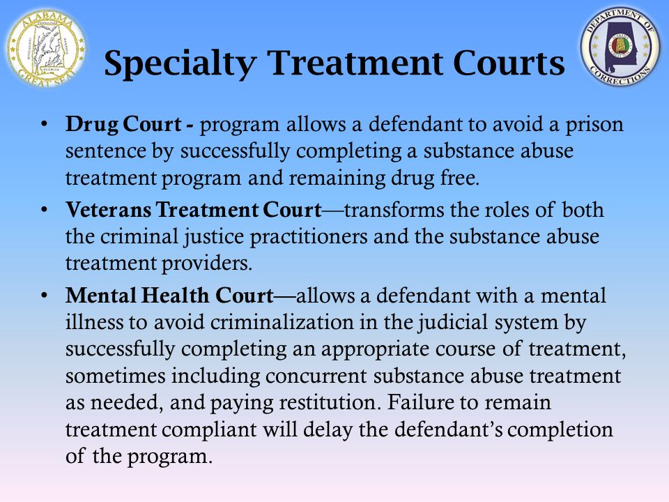 Specialty Treatment Courts Drug Court - program allows a defendant to avoid a prison sentence by successfully completing a substance abuse treatment p