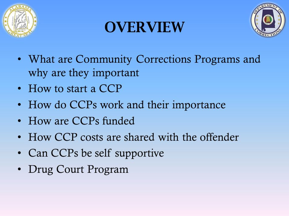 OVERVIEW What are Community Corrections Programs and why are they important How to start a CCP How do CCPs work and their importance How are CCPs fund