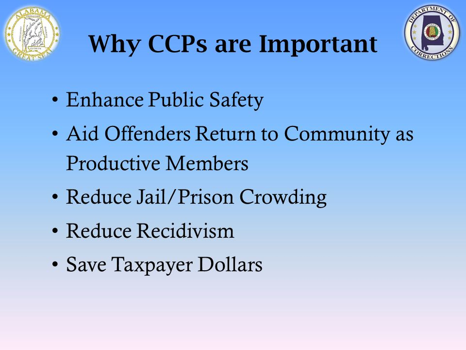 Why CCPs are Important Enhance Public Safety Aid Offenders Return to Community as Productive Members Reduce Jail/Prison Crowding Reduce Recidivism Sav