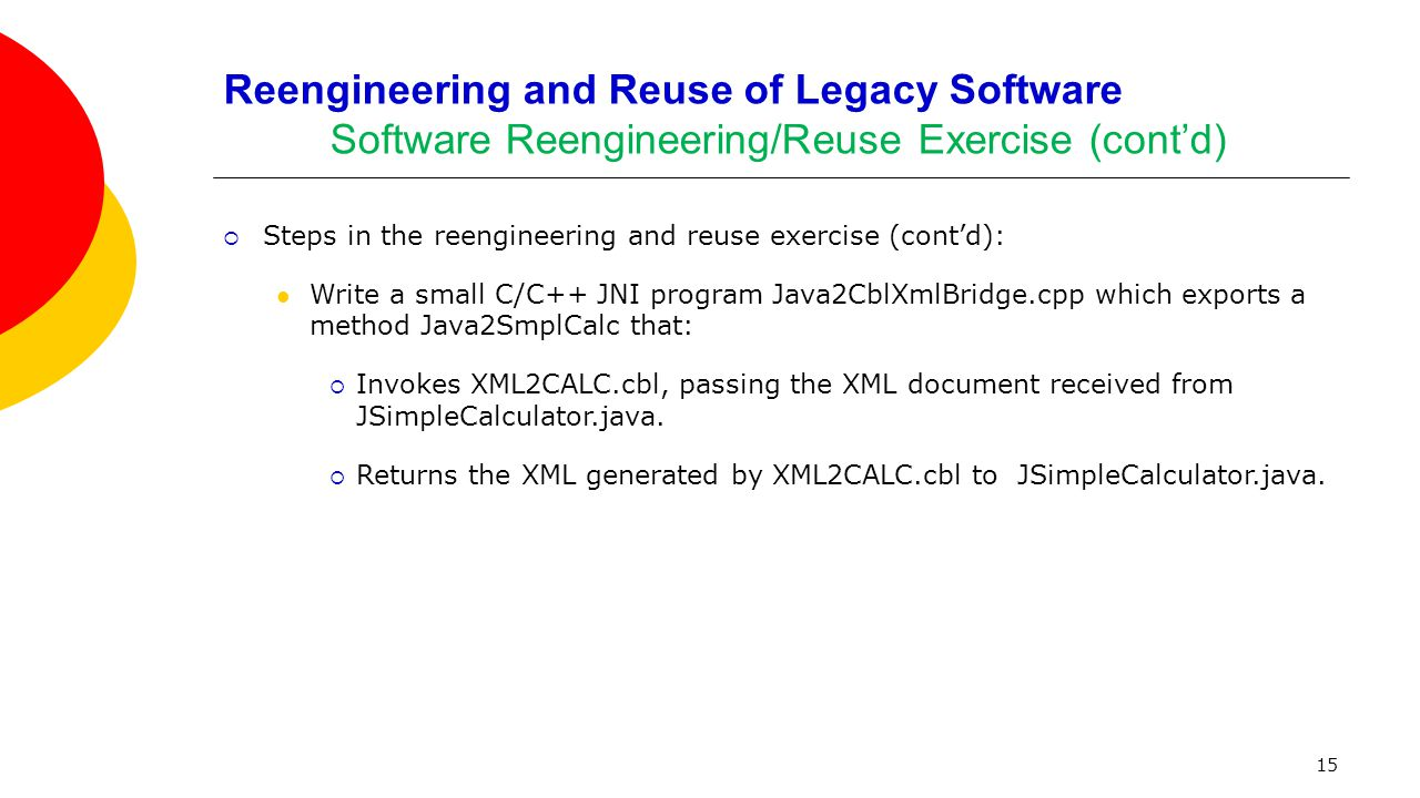 15 Reengineering and Reuse of Legacy Software Software Reengineering/Reuse Exercise (cont'd)  Steps in the reengineering and reuse exercise (cont'd):