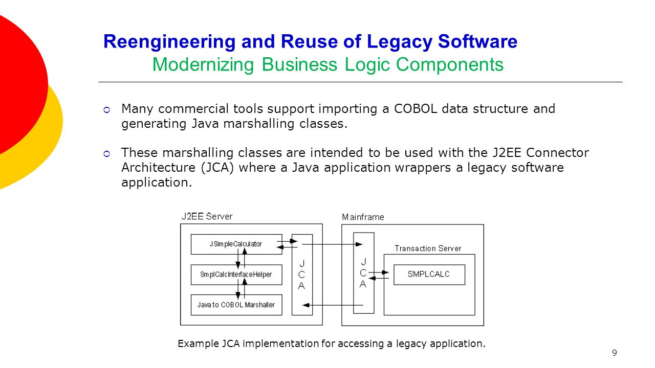 9 Reengineering and Reuse of Legacy Software Modernizing Business Logic Components  Many commercial tools support importing a COBOL data structure an