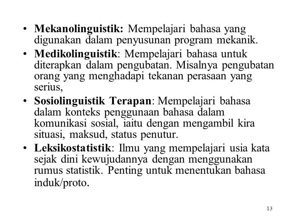 13 Mekanolinguistik: Mempelajari bahasa yang digunakan dalam penyusunan program mekanik. Medikolinguistik: Mempelajari bahasa untuk diterapkan dalam p