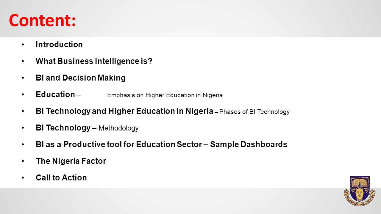 Introduction What Business Intelligence is.