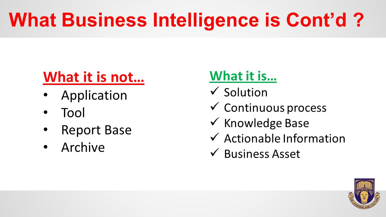 What Business Intelligence is Cont'd .