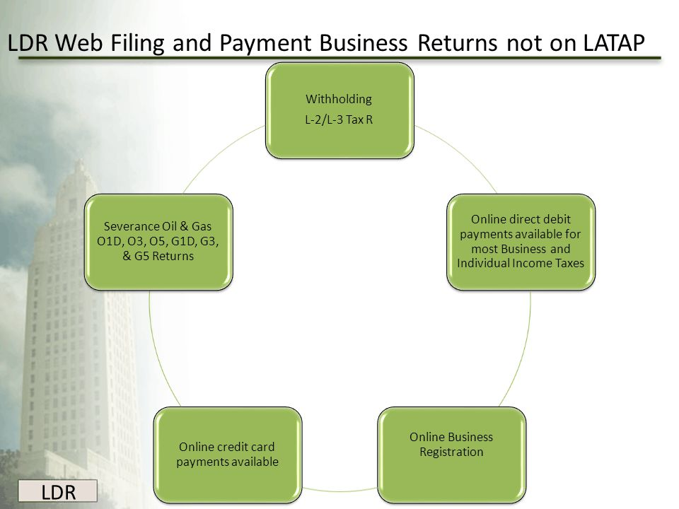 LDR LDR Web Filing and Payment Business Returns not on LATAP Withholding L-2/L-3 Tax R Online direct debit payments available for most Business and In