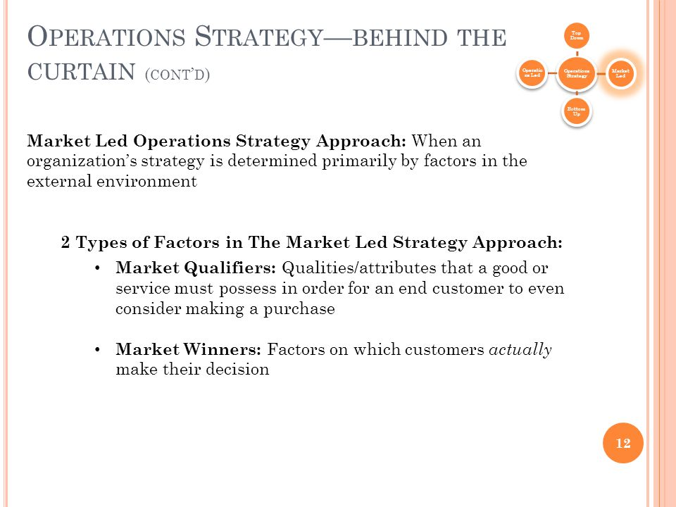 12 O PERATIONS S TRATEGY — BEHIND THE CURTAIN ( CONT ' D ) Operations Strategy Top Down Market Led Bottom Up Operatio ns Led Market Led Operations Strategy Approach: When an organization's strategy is determined primarily by factors in the external environment 2 Types of Factors in The Market Led Strategy Approach: Market Qualifiers: Qualities/attributes that a good or service must possess in order for an end customer to even consider making a purchase Market Winners: Factors on which customers actually make their decision