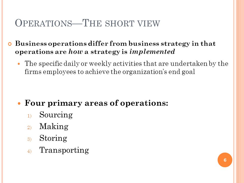 Operations Strategy Content—Infrastructure.