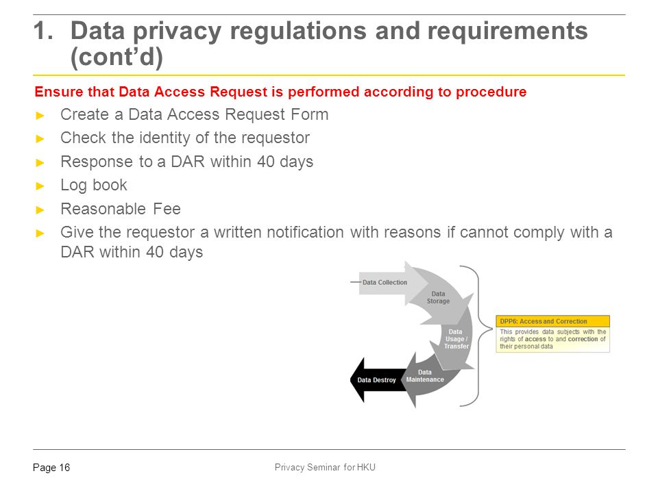 Page 16 Privacy Seminar for HKU Ensure that Data Access Request is performed according to procedure ► Create a Data Access Request Form ► Check the id