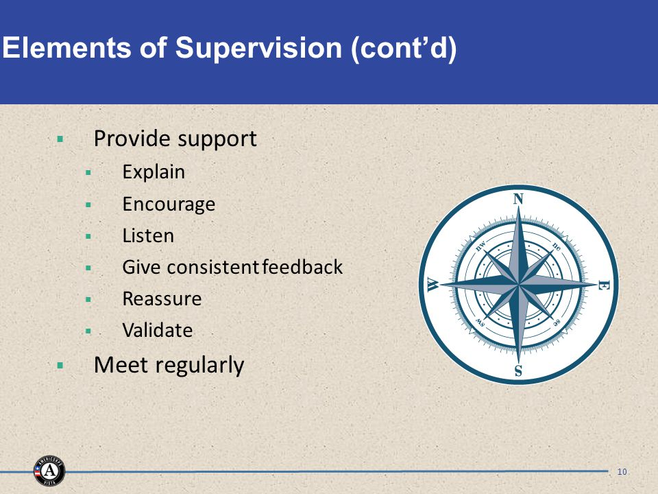Elements of Supervision (cont'd)  Provide support  Explain  Encourage  Listen  Give consistent feedback  Reassure  Validate  Meet regularly 10
