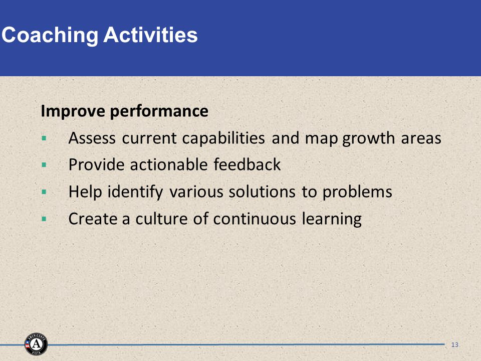 Coaching Activities Improve performance  Assess current capabilities and map growth areas  Provide actionable feedback  Help identify various solut