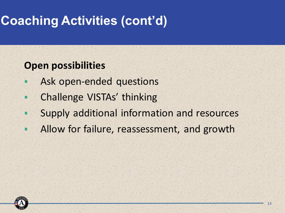 Coaching Activities (cont'd) Open possibilities  Ask open-ended questions  Challenge VISTAs' thinking  Supply additional information and resources  Allow for failure, reassessment, and growth 14