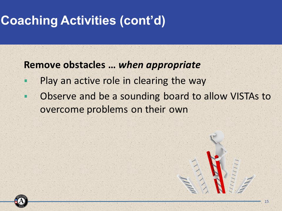 Coaching Activities (cont'd) Remove obstacles … when appropriate  Play an active role in clearing the way  Observe and be a sounding board to allow VISTAs to overcome problems on their own 15