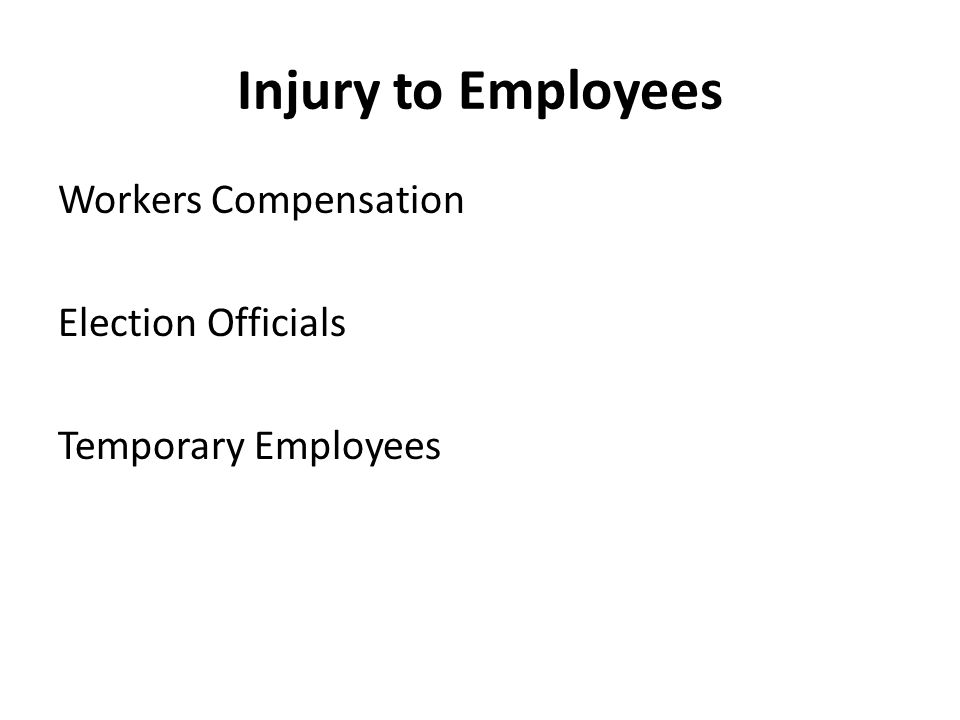 Injury to Employees Workers Compensation Election Officials Temporary Employees