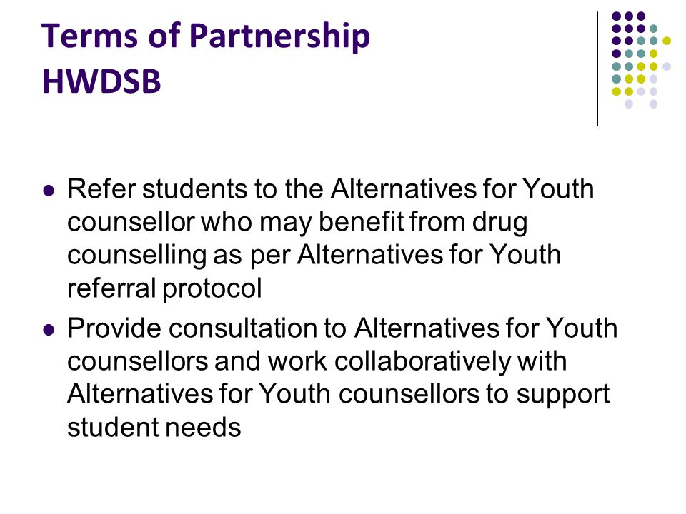 Terms of Partnership HWDSB Refer students to the Alternatives for Youth counsellor who may benefit from drug counselling as per Alternatives for Youth referral protocol Provide consultation to Alternatives for Youth counsellors and work collaboratively with Alternatives for Youth counsellors to support student needs