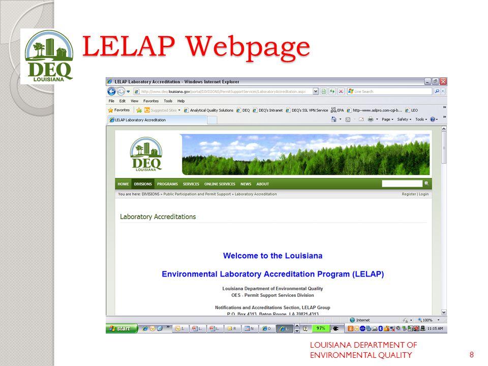 LELAP Webpage LOUISIANA DEPARTMENT OF ENVIRONMENTAL QUALITY8