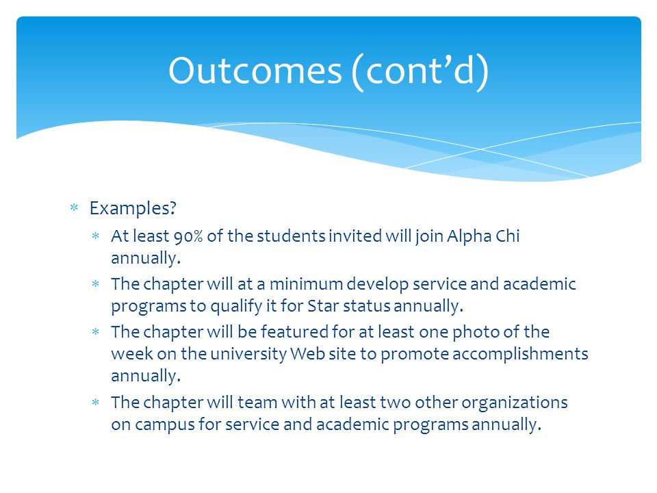  Examples. At least 90% of the students invited will join Alpha Chi annually.