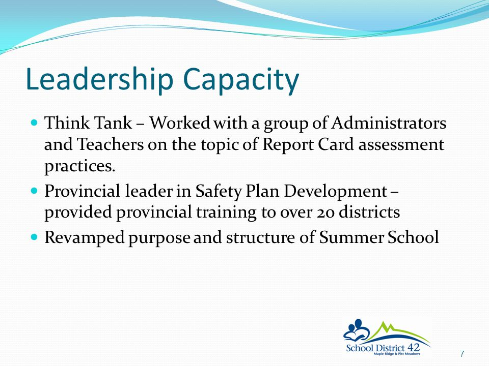 Leadership Capacity Think Tank – Worked with a group of Administrators and Teachers on the topic of Report Card assessment practices.