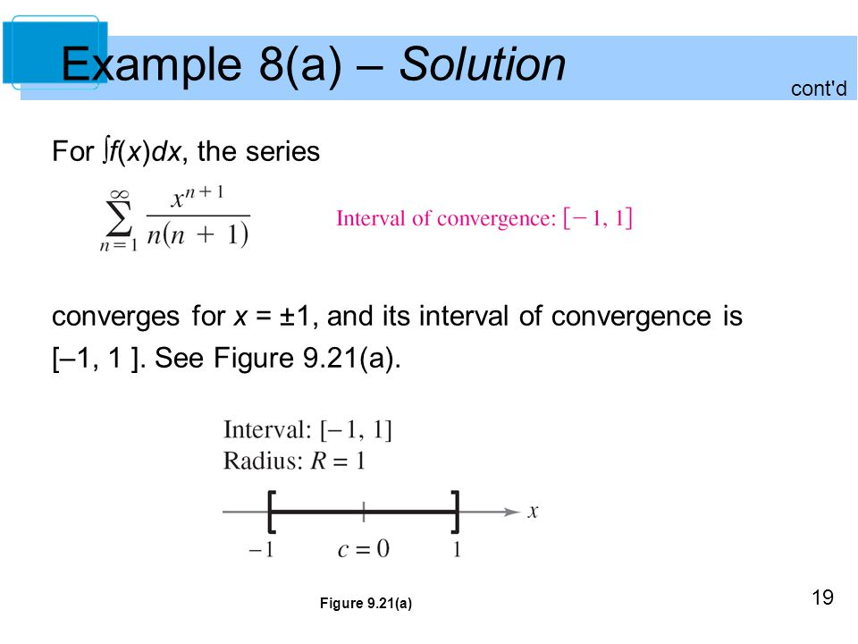 19 Example 8(a) – Solution For ∫f(x)dx, the series converges for x = ±1, and its interval of convergence is [–1, 1 ].