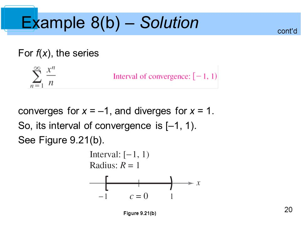 20 Example 8(b) – Solution For f(x), the series converges for x = –1, and diverges for x = 1.