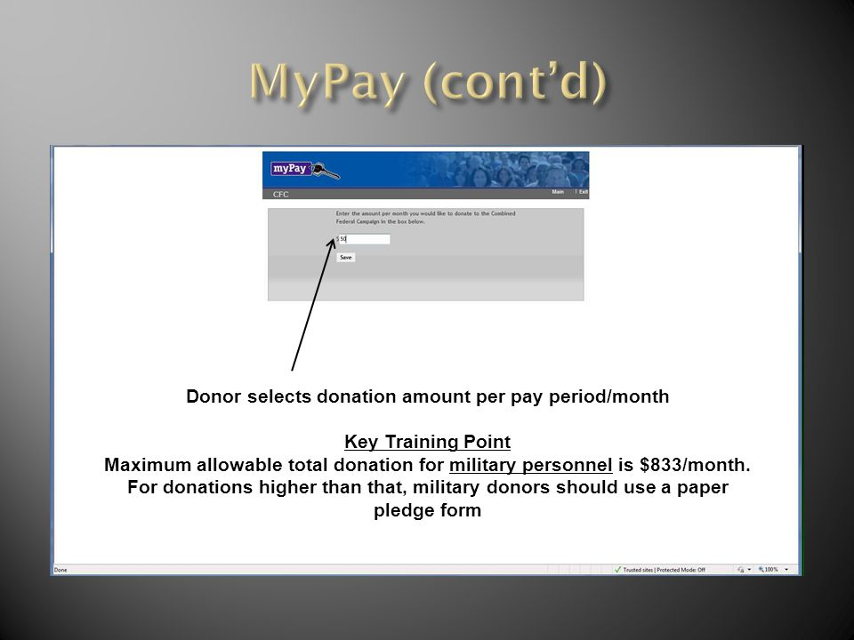 Donor selects donation amount per pay period/month Key Training Point Maximum allowable total donation for military personnel is $833/month.
