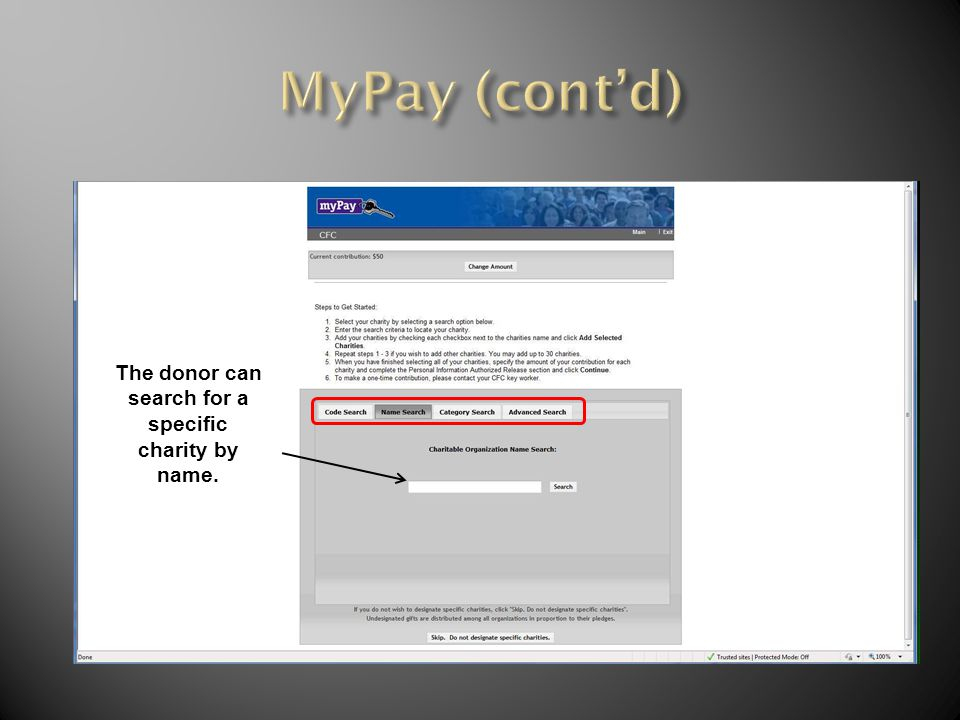 The donor can search for a specific charity by name.