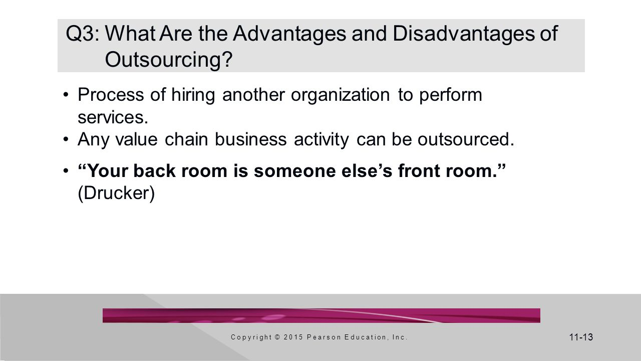 11-13 Q3:What Are the Advantages and Disadvantages of Outsourcing? Process of hiring another organization to perform services. Any value chain busines
