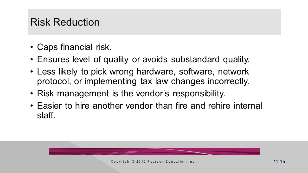 11-15 Risk Reduction Caps financial risk. Ensures level of quality or avoids substandard quality. Less likely to pick wrong hardware, software, networ