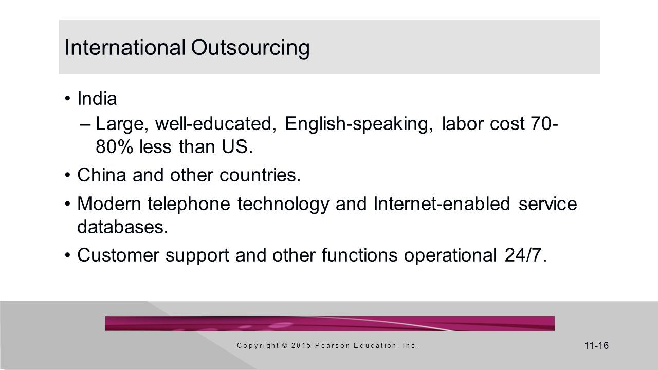 11-16 International Outsourcing India –Large, well-educated, English-speaking, labor cost 70- 80% less than US. China and other countries. Modern tele