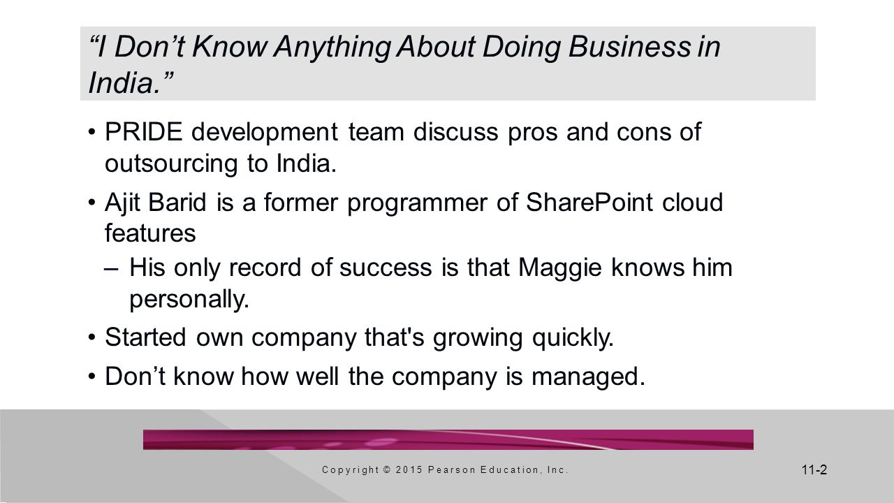 11-2 I Don't Know Anything About Doing Business in India. Copyright © 2015 Pearson Education, Inc.