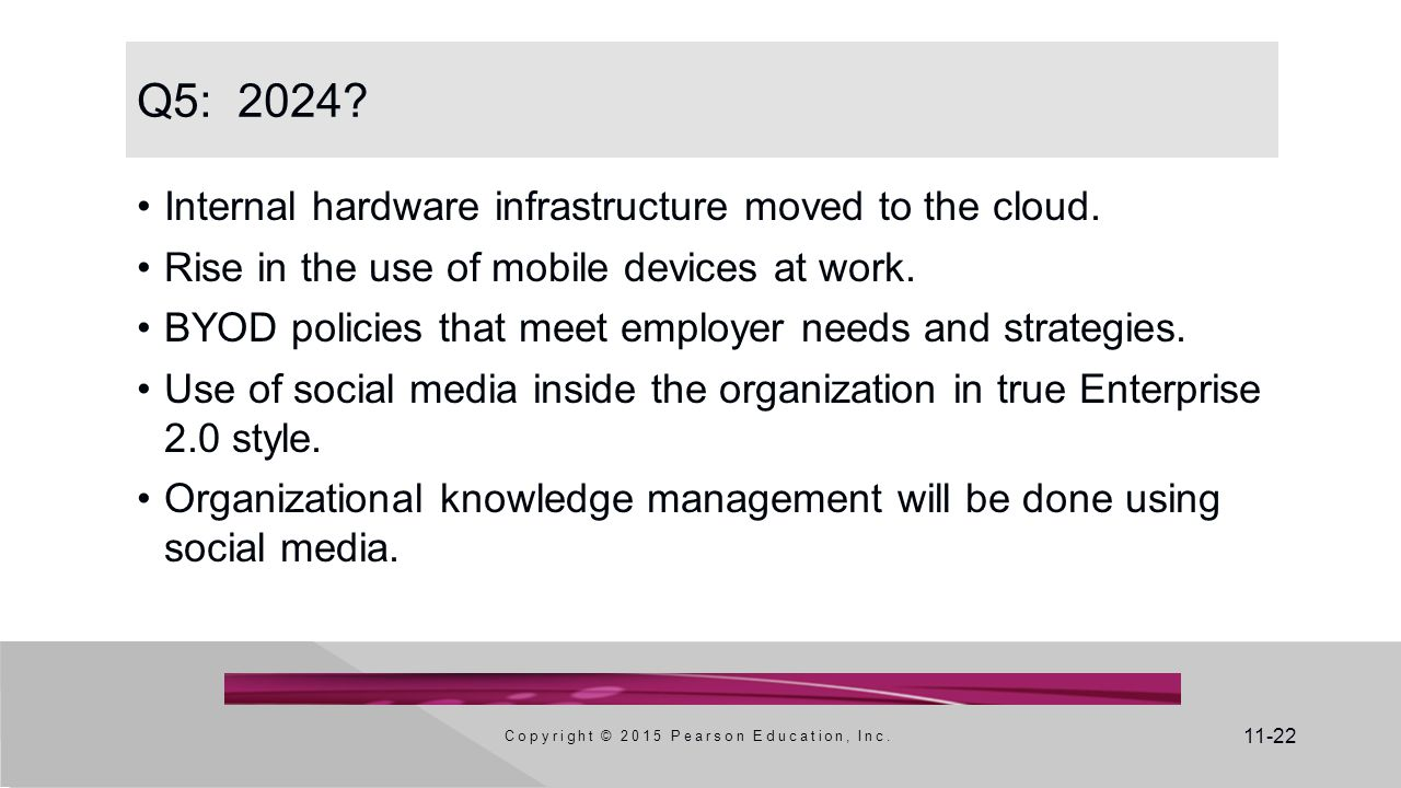 11-22 Q5: 2024? Internal hardware infrastructure moved to the cloud. Rise in the use of mobile devices at work. BYOD policies that meet employer needs