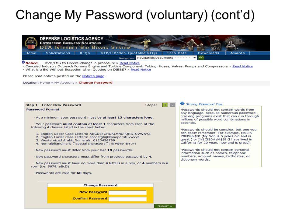 Change My Password (voluntary) (cont'd)