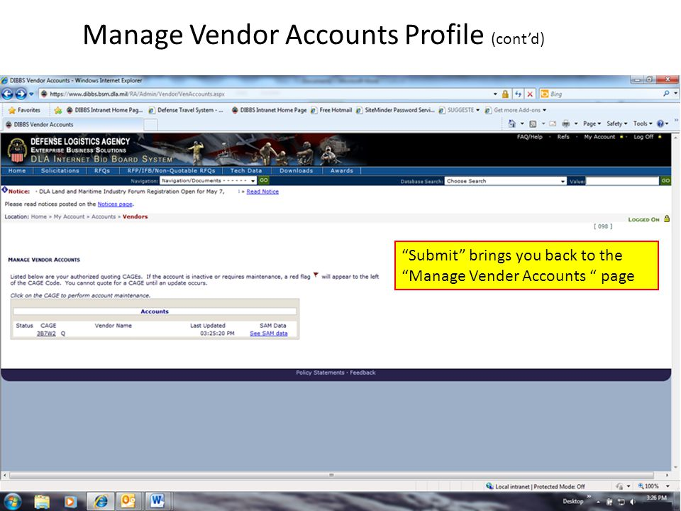 """Manage Vendor Accounts Profile (cont'd) """"Submit"""" brings you back to the """"Manage Vender Accounts """" page"""