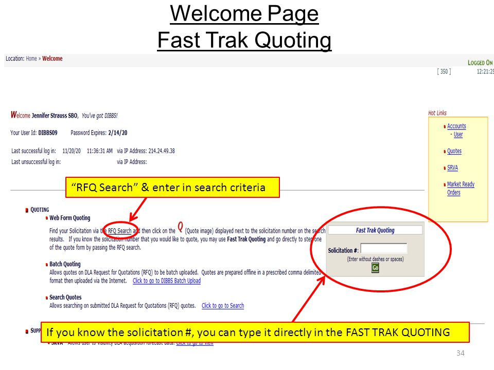 "Welcome Page Fast Trak Quoting xxxxxxxxxxxxxxxxxxxxxxxxxxx 34 If you know the solicitation #, you can type it directly in the FAST TRAK QUOTING ""RFQ S"