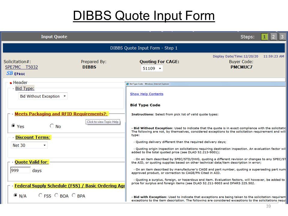 DIBBS Quote Input Form 39
