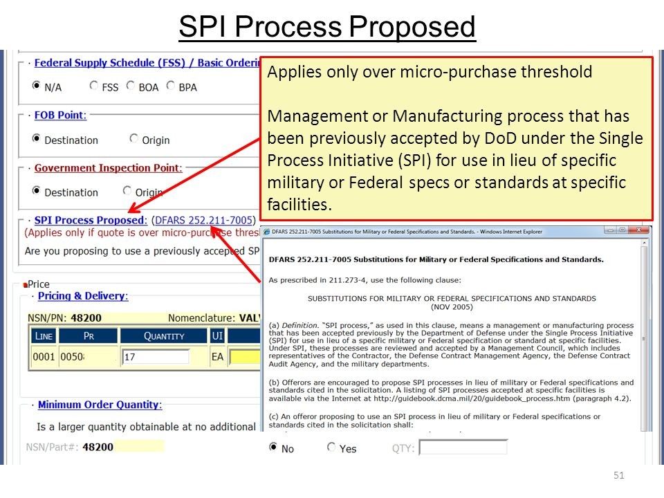 SPI Process Proposed 51 Applies only over micro-purchase threshold Management or Manufacturing process that has been previously accepted by DoD under