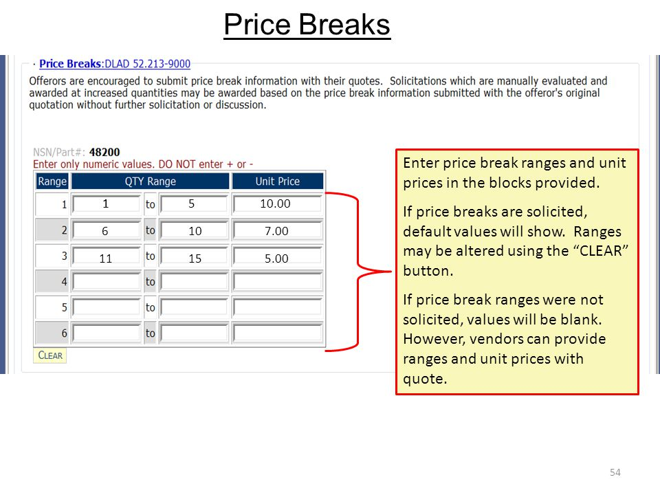 Price Breaks 54 Enter price break ranges and unit prices in the blocks provided. If price breaks are solicited, default values will show. Ranges may b