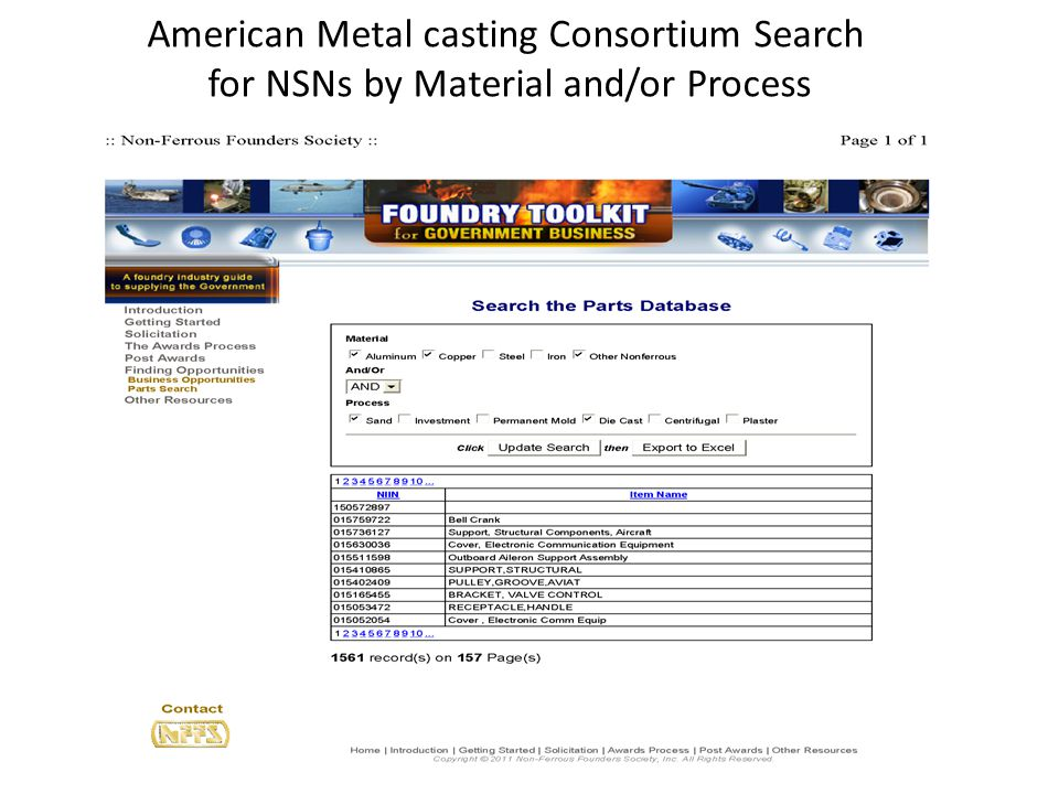 American Metal casting Consortium Search for NSNs by Material and/or Process