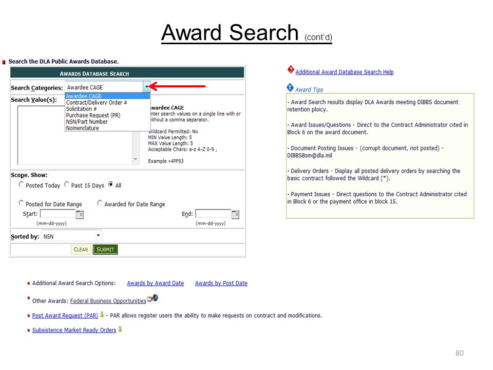 Award Search (cont'd) 80
