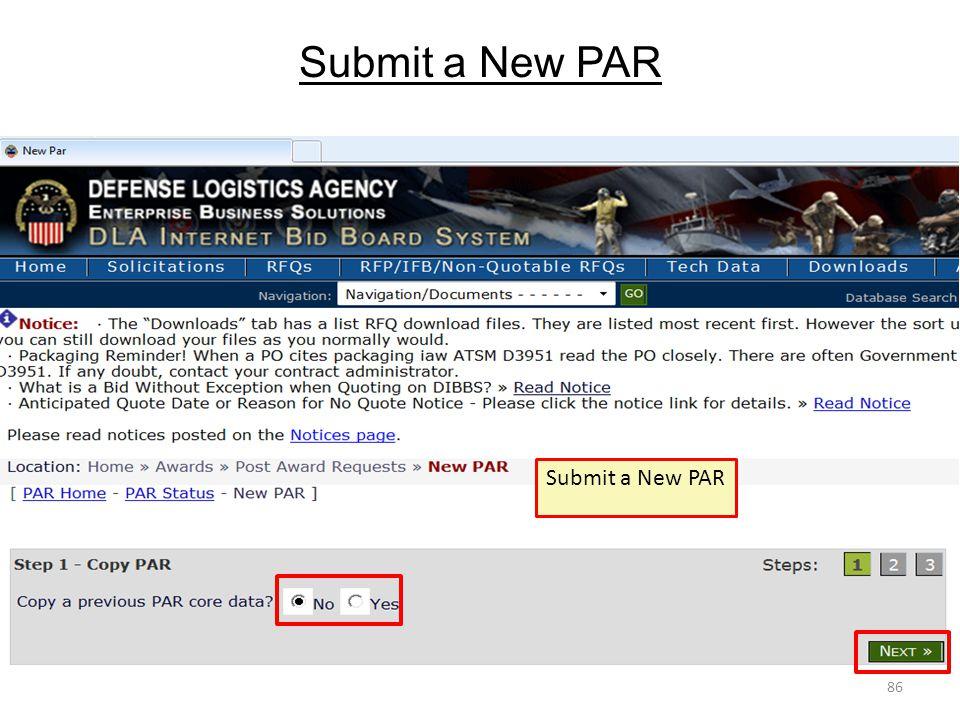 Submit a New PAR 86 Submit a New PAR