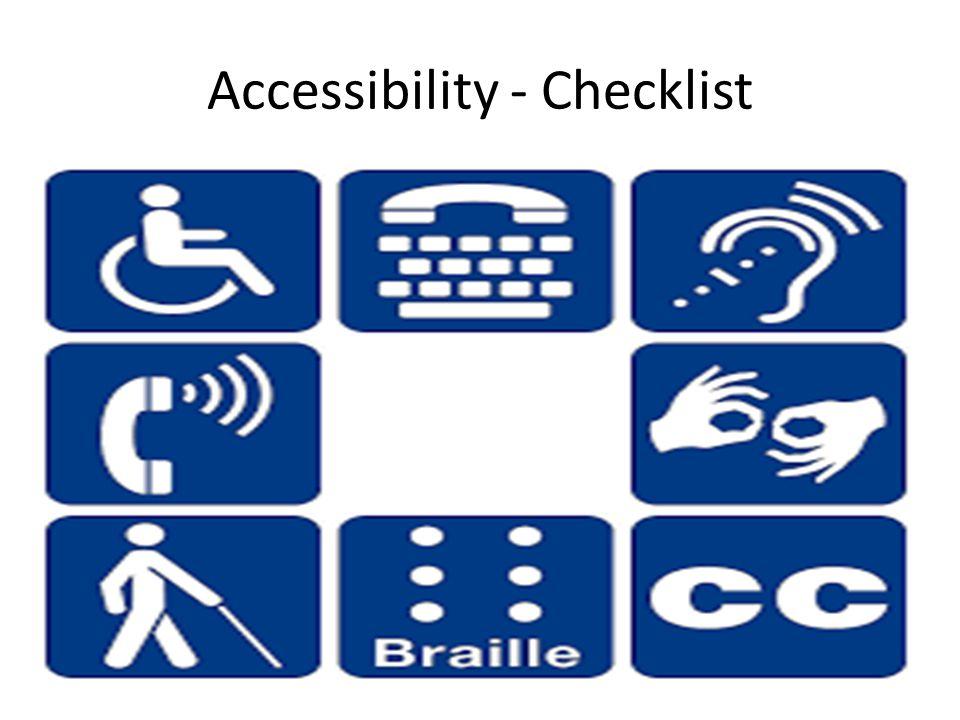 Accessibility - Checklist