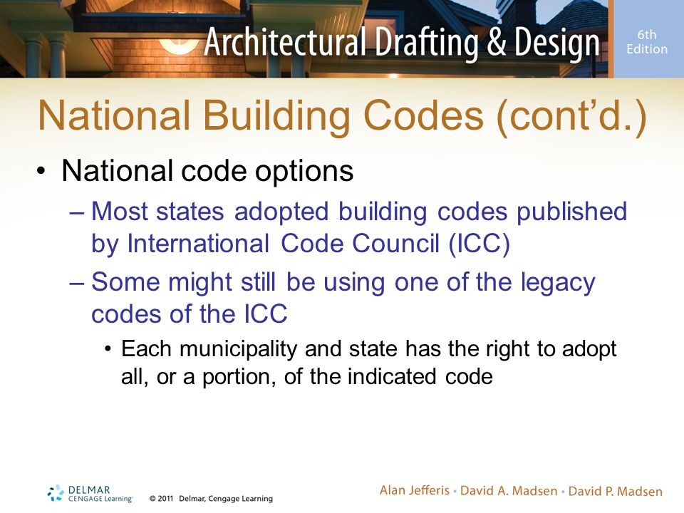 National Building Codes (cont'd.) National code options –Most states adopted building codes published by International Code Council (ICC) –Some might still be using one of the legacy codes of the ICC Each municipality and state has the right to adopt all, or a portion, of the indicated code