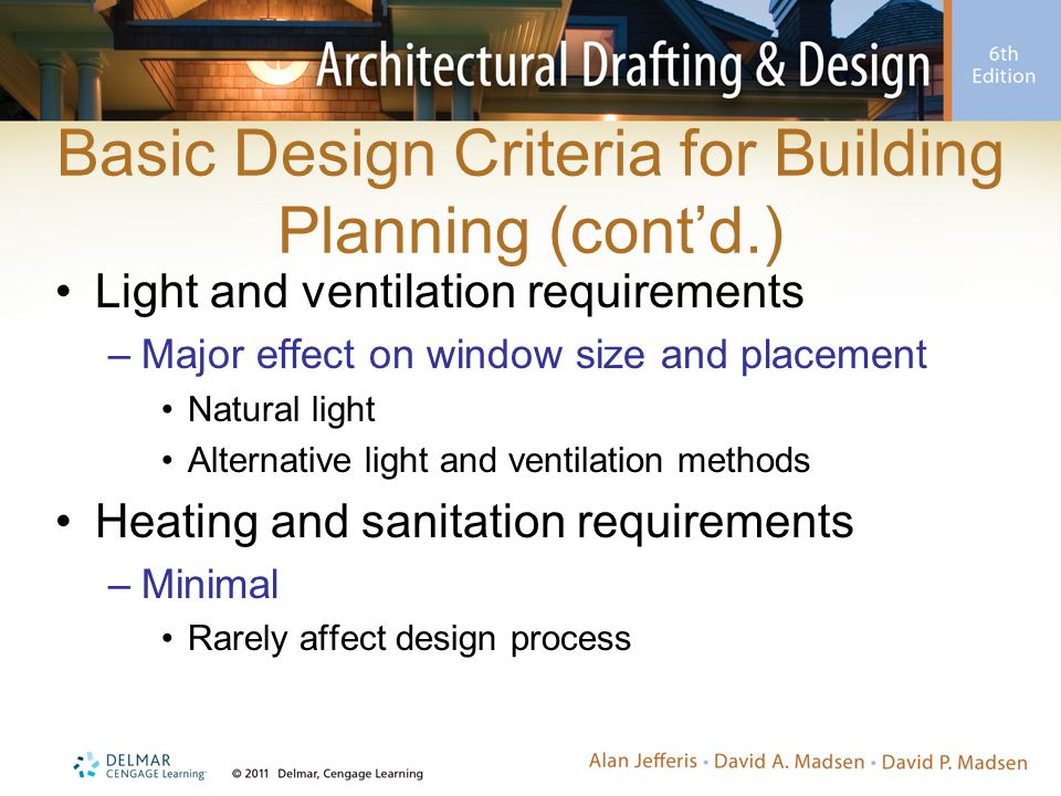 Basic Design Criteria for Building Planning (cont'd.) Light and ventilation requirements –Major effect on window size and placement Natural light Alternative light and ventilation methods Heating and sanitation requirements –Minimal Rarely affect design process